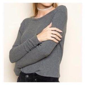 Brandy Melville Olive Ribbed Oversized Long Sleeve